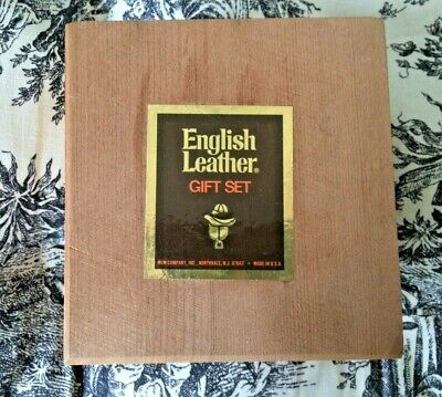 English Leather Gift Set Soap After Shave Dovetailed Wooden Box Made in USA -