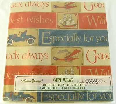 Vtg Gift Wrapping Paper Model T Car Aeroplane Ship Good Luck Best Wishes 2