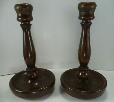 Pair of Vintage Turned Dark Oak Candlesticks with Bobeche Base/Foot Wooden Treen