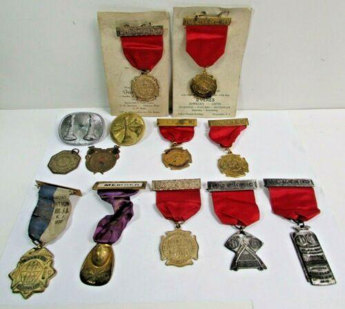 Vintage Firemens Firedept Medal Award Ribbon Hat Firefighter Convention Lot
