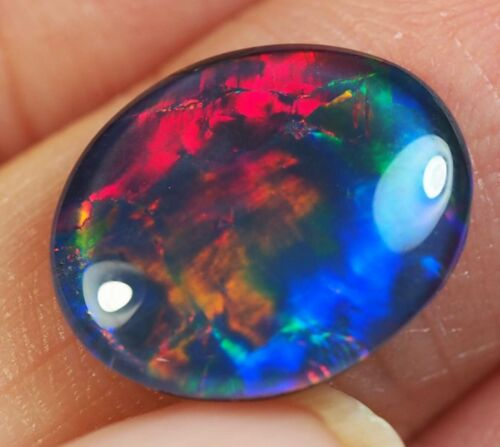 Very Bright Natural Australian Coober Pedy Opal Triplet 14x12 mm pendant ring