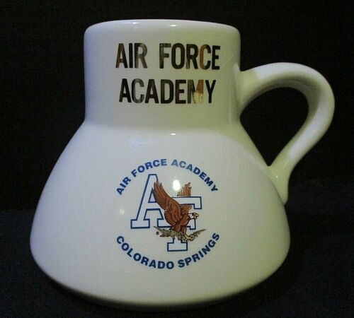 Air Force Academy White Coffee Mug Cup Military USAF Wide Rubber Bottom