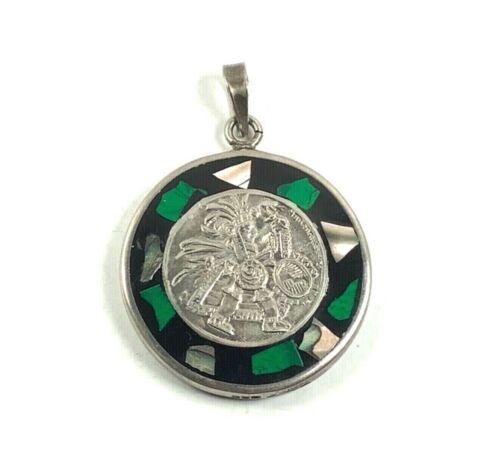 Alpaca Silver Reversible Aztec Mayan Calendar Pendant w/Malachite Abalone Inlay
