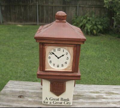 VTG 1983 Whitney Bank New Orleans Promotional Brown Ceramic Clock Bank Louisiana (Whitney Bank)