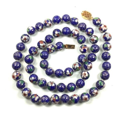 """Chinese Cloisonné Cobalt Blue Floral Enamel Hand Knotted Beaded Necklace, 27.5"""""""