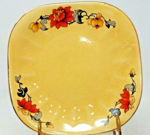 Limoges China co. Sebring Ohio Golden Glow Vintage Pattern Square Bread Plate