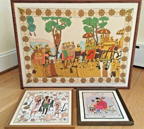Lot 3 Rare Signed Serial Numbered 1960s Nakshi Kantha Silk Tapestry Bangladesh