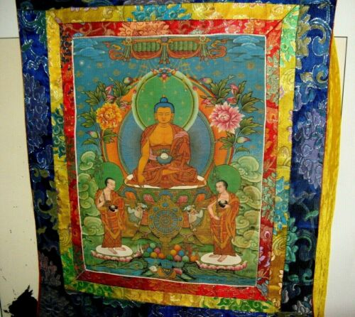 Silk Covered Buddha Scroll with Deity Robes and Scenery in Flowing Yellow Fabric