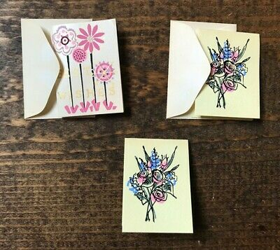 Set of 3 Mini Vintage Gift Cards-2 Envelopes-Floral Theme-Best (Best Wishes Gift Cards)