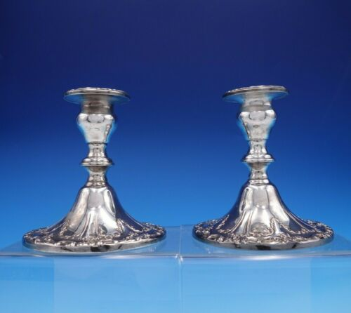 """Chantilly by Gorham Silverplate Candlestick Pair 4 1/4"""" #YC3004 (#3237)"""