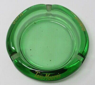 Vintage Tom Moore's Casino Holiday Hotel Green Glass Advertising Ashtray Reno NV