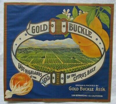 Vtg Gold Buckle Sunkist Orange Fruit Crate Label~1920's~San Bernadino/E.Highland