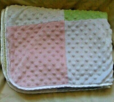 Just Born Baby Blanket Pastel Patchwork Minky Dot Baby Blanket Yellow Sherpa  - Just Dots Pastel