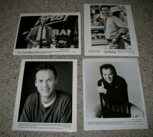 "MICHAEL KEATON FOUR (4) ORIGINAL B&W 8x10 PRESS PHOTOS ""BEETLEJUICE"" ""THE PAPER"""
