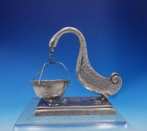 ".900 Silver Tea Strainer Figural Goose and Basket Hanoi Vietnam 4 3/4"" (#3953)"