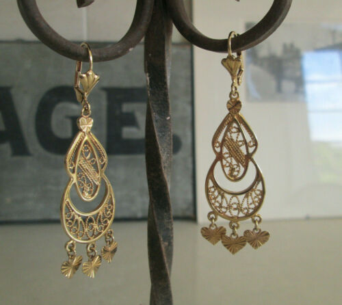 Vintage Gold Vermeil Mexican Filigree Dangling Frida Style Traditional Earring
