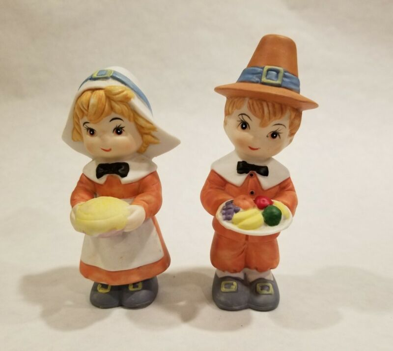 VINTAGE GIRL AND BOY PILGRIM FIGURINES PORCELAIN THANKSGIVING COLLECTIBLES 5