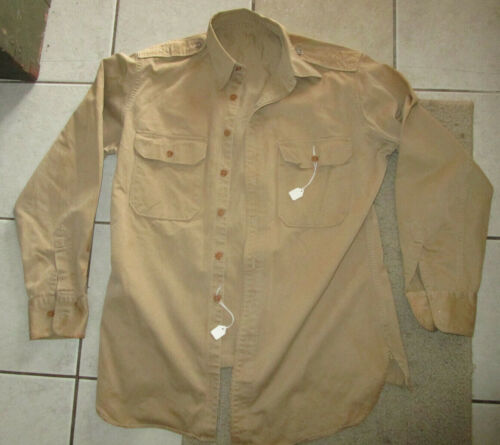 """ORIGINAL WWII US ARMY OFFICERS KHAKI """"SHAVE TAIL"""" SHIRT SIZE 15-35"""