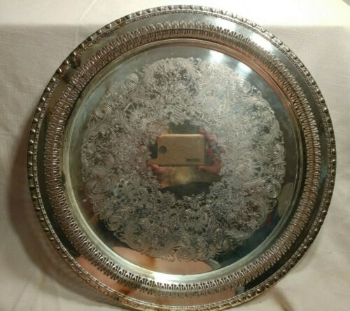 "Vintage Rogers & Bro Silver Plate 15"" Round Gallery Serving Tray Gadrooned Edge"