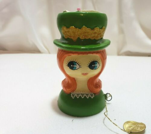 Vintage Pin Cushion Big Eye Girl With  Measuring Tape In Original Package