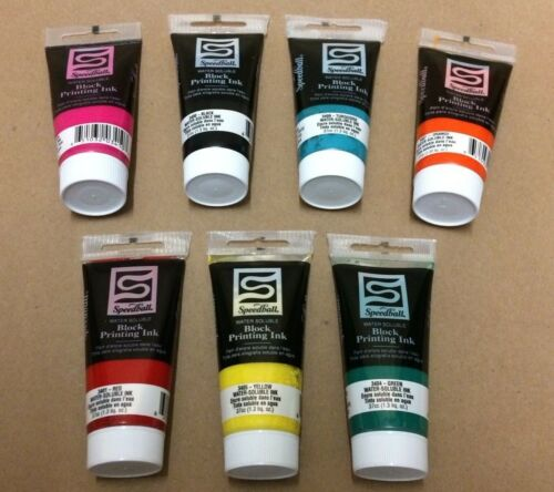 LOT OF 7 COLORS, SPEEDBALL WATER SOLUBLE BLOCK PRINT INK PAINT, NON TOXIC