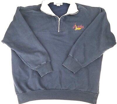 Visions Resort Wear Sweat Shirt XL Alaska USA Embroidered Fleece Long Sleeves Alaska Sweatshirt