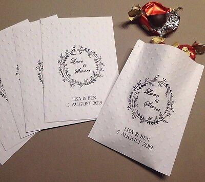 20 edle Papiertüten Beutel CANDYBAR personalisiert geprägt HERZEN Gastgeschenk