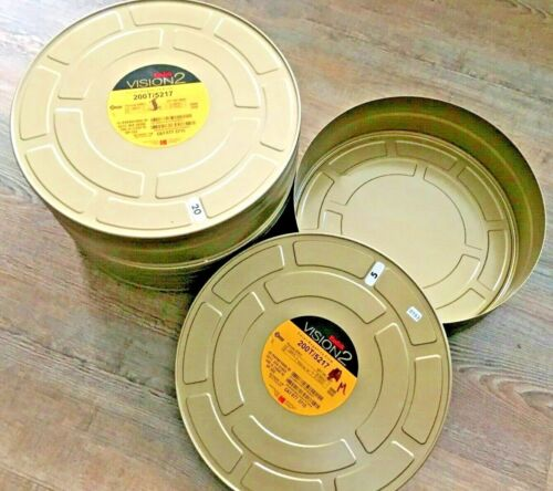 """2 Kodak 10.75 """" X 3.25"""" Metal 65- 70MM or IMAx gold Film 1000ft Cans Move Tins"""