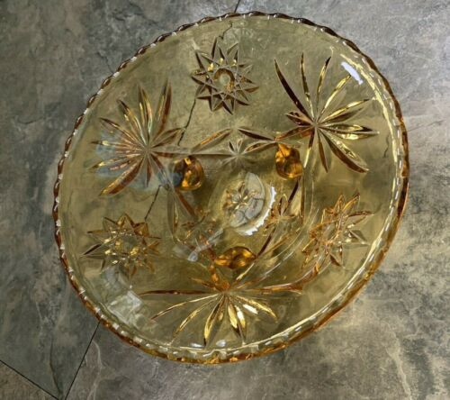 PRESCUT ANCHOR HOCKING 3-TOED BOWL AMBER GLASS STAR OF DAVID SERVING DISH EAPC