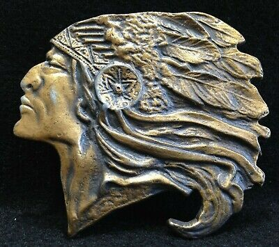 Distressed Gold Finish (Distressed Gold Finish - Native American Chief - Belt Buckle - Free Shipping)