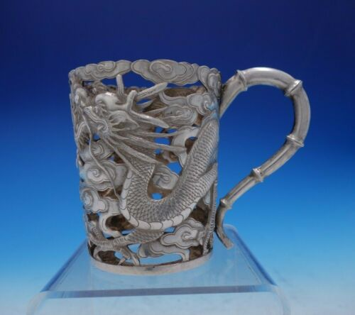Tuck Chang Chinese Sterling Silver Cup Holder Dragon Clouds Bamboo Handle #3843