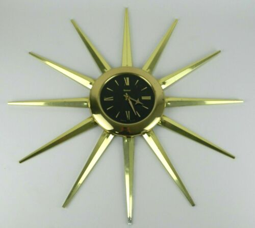 "23.5"" Vtg Mid Century MCM Starburst Sunburst UNITED Wall Clock - NOT WORKING"