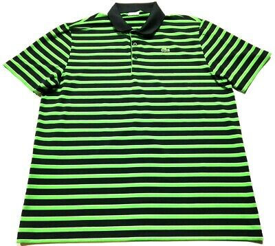 Lacoste Sport Mens Green Striped Short Sleeve Polo Shirt Size 7
