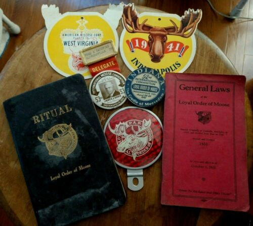 Loyal Order of Moose Ephemera 1917 thru 1953 Rule Books Badges Reflector