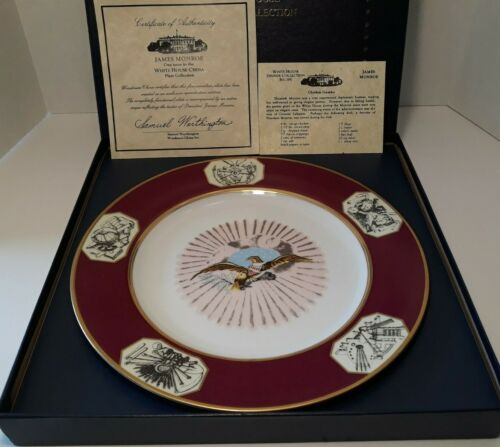 Woodmere White House Collection James Monroe Dinner Plate w/COA & Recipe Card