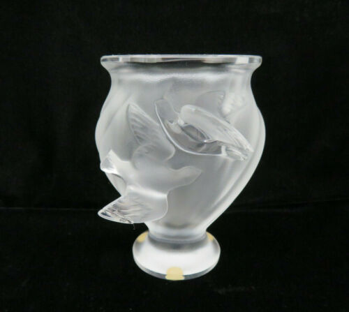 "Signed Lalique Crystal France ""Rosine"" Birds in Flight Pedestal Vase ~ Repaired"