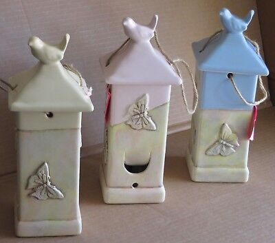 Ceramic Bird Feeder Arts & Crafts Chickadee Love Birds Butterfly NEW 11