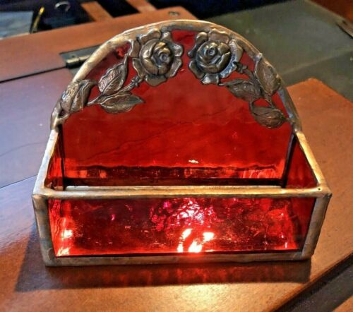 Vintage Handmade Garnet Red Stained Glass Copper Foil Roses Business Card Holder