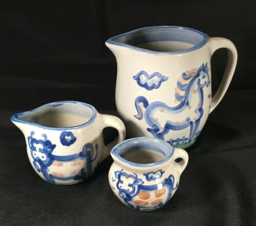 """M. A. Hadley Lot of 3 Pitchers - 5"""" Horse, 2-1/2"""" Cow, 2"""" Cow - Country Farm"""