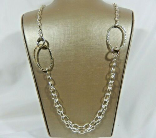 """VTG 925 STERLING SILVER & SP HAMMERED LARGE LINK DOUBLE CHAIN SWAG 36"""" NECKLACE"""