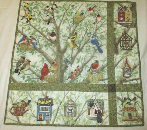 """Hand Made Art Quilt / Wall Hanging   """"Birds & Birdhouses """" ~ 24"""" x 24"""""""