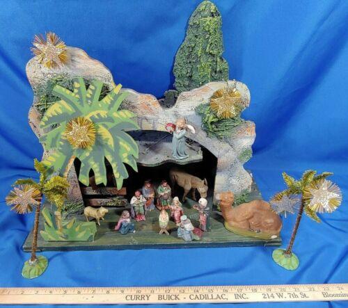 HUGE Putz German Antique Nativity Scene Set Wood Creche Palm Tree Stable Manger