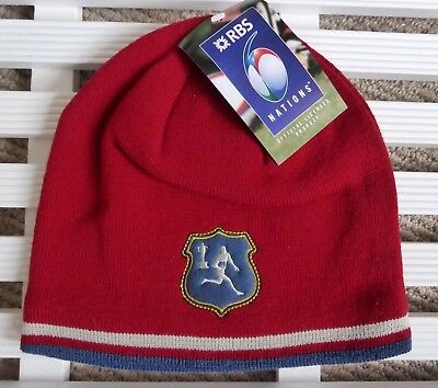 5049f29d356 Official RBS 6 NATIONS Dark Red Fleece Lined BEANIE HAT Toque Rugby New Tag