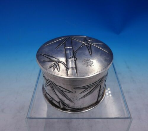 Zee Wo Chinese Export Sterling Silver Box Round with Repoussed Bamboo (#3902)