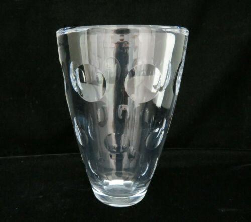 "Mid Century Modern Heavy Cut Clear Crystal Flower Vase ~ 7"" Tall"