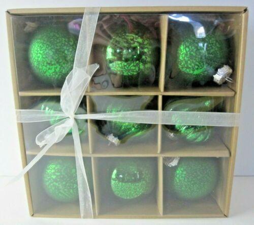 9 Christmas Tree Glass Ornaments Green New