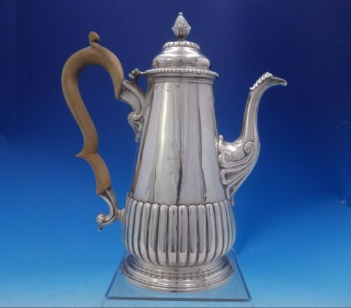 English Georgian Sterling Silver Tea Pot Wood Handle Pineapple Finial (#3961)