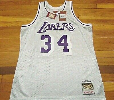 MITCHELL & NESS NBA HWC LOS ANGELES LAKERS SHAQ O'NEAL SILVER SWINGMAN JERSEY XL