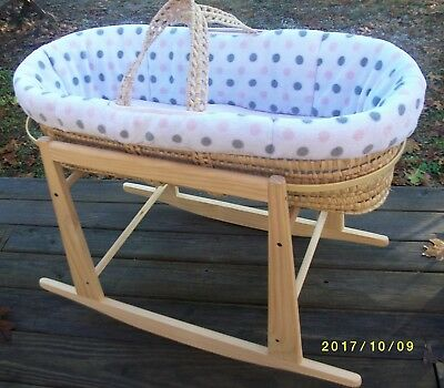 Jolly Jumper Rocking Stand with Infant Wicker Basket and Baby Girl Bedding