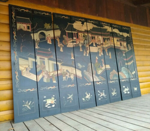 Vintage Oriental Asian 8 Panel Black  Two Sided Screen Room Divider 12